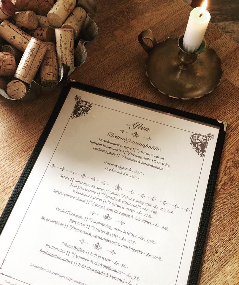 ny menu 3-retters Bistro59 Dinnerlust menukort aalborg 9000 restaurant bistro 59 café